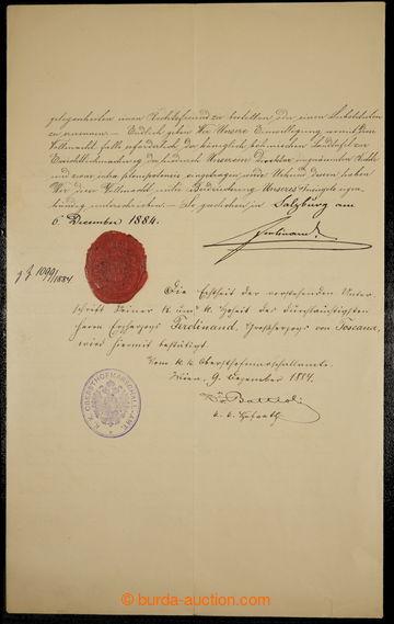 229811 - 1884 FERDINAND IV. TOSKÁNSKÝ (1835-1908), arcivévoda rako