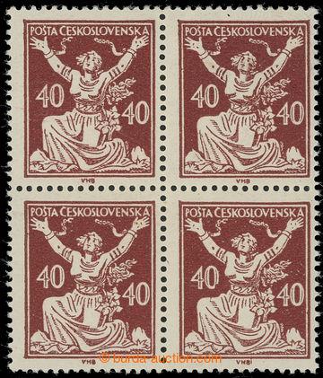 229819 -  Pof.154I, 40h hnědá, 4-blok s I. typy (9 lipových lístk