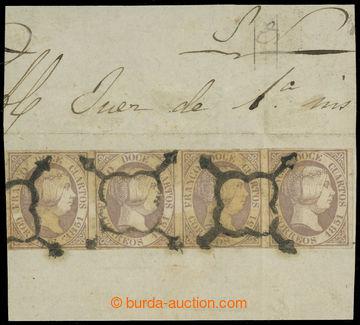 229828 - 1851 Mi.7w, Isabela II. 12C fialová, vodorovná 4-páska na
