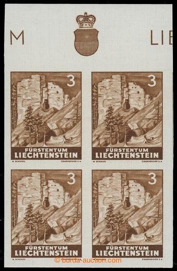 229886 - 1937 Mi.156, Hrady 3Rp, NEZOUBKOVANÝ krajový 4-blok; luxus