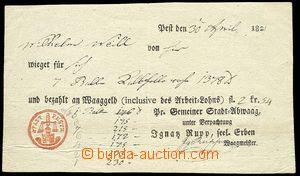 22989 - 1821 formulář - vážní list na zásilku s červeným vti