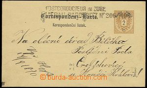 22993 - 1890 PC 2 Kreuzer with straight line postmark Postconducteur