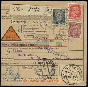 23077 - 1927 dobírková průvodka bez podacího lístku zaslaná do