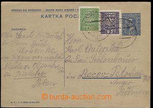 23098 - 1932 POLAND  PC 15gr, Mi.P48 to Czechoslovakia, uprated by.
