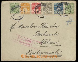23109 - 1917 letter with multicolor franking postage stmp to Austria