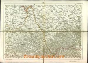 23126 - 1850? map Těšín (Teschen)-region, underglued, detailed,