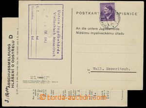 23163 - 1943 BOHEMIA-MORAVIA  HUNTING  comp. 2 pcs of cards  Report