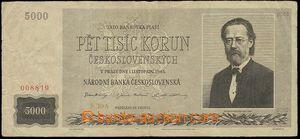23211 - 1945 Czechoslovakia  5000 Koruna, 1.11.45, quality 3