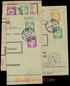 23238 - 1941 - 43 3 pcs of cuts post. dispatch-note franked with. se