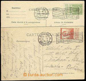 23265 - 1910 - 13 2 pcs of Ppc with exhibition machine postmark Brus