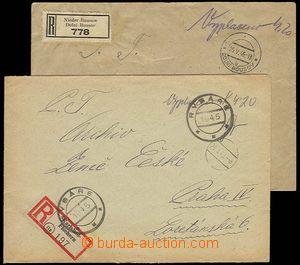 23289 - 1945 2  pcs R letters cash franked/paid, CDS Rybáře 1945 +