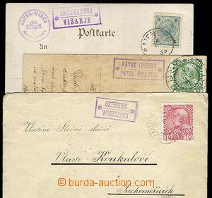 23292 - 1903 - 11 3 pcs of entires with postmarks: Ostředek (on let
