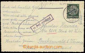 23318 - 1941 KT BUCHENWALD - pohlednice (!) zaslaná na vězně KT,