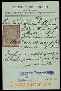23319 - 1908 Rakousko prošlý vyfr.  firemní lístek jako kolkovan