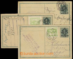 23320 - 1919 CDV1, comp. 3 pcs of overprint PC, 2x uprated stamp. Hr