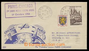 23333 - 1953 FRANCE  the first flight Paris - Chicago 19.Oct.53, cac