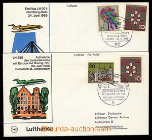 23339 - 1965 GERMANY  2 pcs of envelopes with color cachets 1. fligh