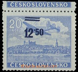 23377 - 1949 overprint 12,50/20 Koruna blue with upper coupon, shift