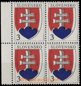 23382 - 1993 Zsf.2, Coat of arms 3Sk as blk-of-4 with L margin, shif