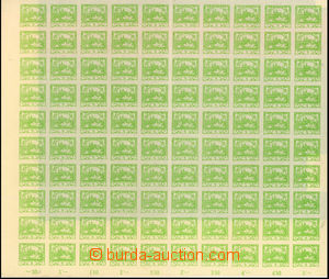 23419 -  Pof.3, 5h light green, complete 100-stamps sheet, fold