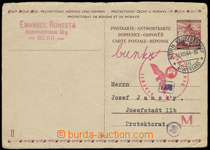 23432 - 1944 CDV14/ II. part sent as answer from Switzerland to Bohe