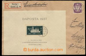 23464 - 1937 DANZIG  Reg letter franked with. i.a. miniature sheet M