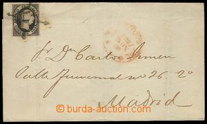 23470 - 1851 folded letter with 6c, Mi.6 with cross cancel. suppleme