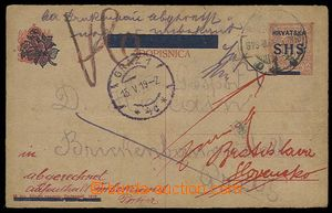 23478 - 1919 overprint PC 10f, Mi.P35 to Prague, by mistake to Graz,