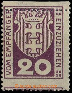 23645 - 1921 DANZIG  porto 20Pf with shift horiz. perf, Mi.P2.