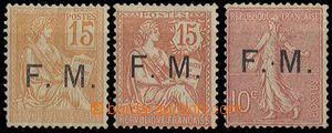 23648 - 1901 - 06 Military with overprint F.M., Mi.F1, F2, F3, cat.