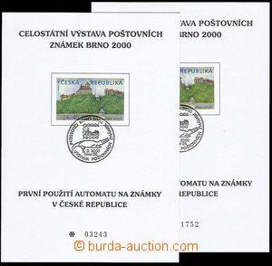 23667 - 2000 Veveří  2x pamětní list s automatovou zn.  AT1, Pof