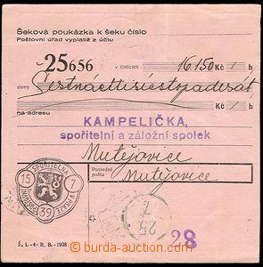 23690 - 1939 cheque order Post. bank, on reverse forerunner Czechosl