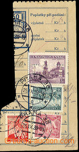 23692 - 1939 parcel dispatch card segment with mixed franking of cze