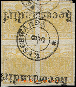 23740 - 1850 4-blok(!) 1 Kr stamp.  issue I, Mi.1, hand-made paper t