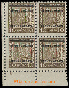 23770 - 1939 corner  block of four with plate mark 1, Pof.2, superb,