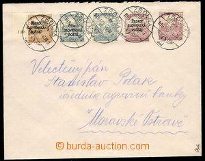 23780 - 1918 dopis vyfr. zn. Šrobárova vydání RV137, RV138 a RV141 +