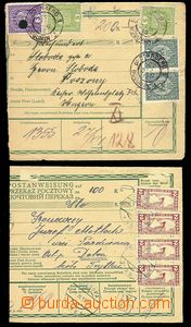 23794 - 1918 2 pcs of larger parts of dispatch-note, richly franked
