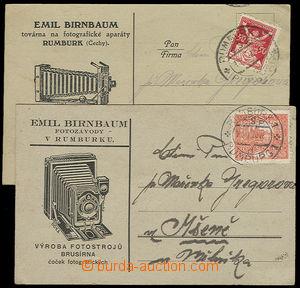 23848 - 1920 - 22 2ks lístků s přítiskem firmy E.Birnbauma fotoz
