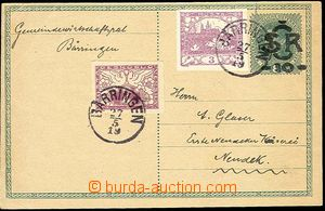 23851 - 1919 CDV 1 with uprated by. for II. postal rate, Pof.2 + Pof
