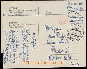 23882 - 1945 2ks nevyfr. pohlednic Dobřany s vylámaným DR VLP Plz