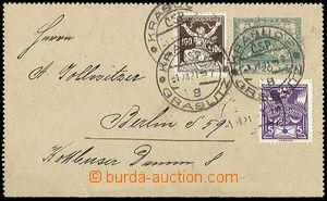 23902 - 1921 CZL1 dofr. do Německa, zn. 100h + 5h, Pof.144, 158, be