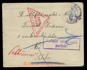 23908 - 1915 TRANSPORT SUSPENDED  letter on/for Czech prisoner Austr