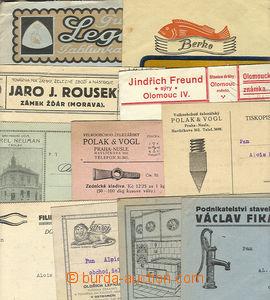 23947 - 1923 - 36 11ks lístků a obálek s firemními přítisky, n