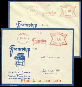 23955 - 1939 2 ks obálek s přítiskem firmy Francotyp B.Jarolímek