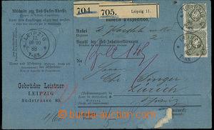 23959 - 1888 whole international parcel card (blue), with Mi.2x 44 a