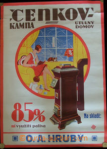 24042 - 1930 advertisement poster on/for stove Cenkov, color size. A