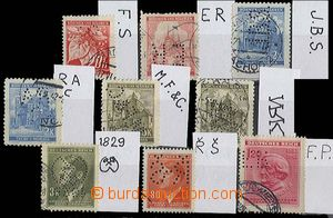 24219 - 1939 - 44 comp. 9 pcs of stamp. with identified perfins, i.a