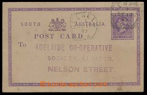 24227 - 1887 PC with stamp. 1penny violet - South Australia, CDS Cle