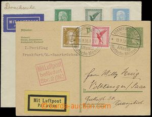 24238 - 1928 - 32 2 pcs of air-mail entires, 1x uprated by. PC Mi.P1