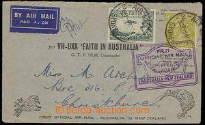 24296 - 1934 Let-dopis 1. let na Nový Zéland, vyfr. zn. Mi.89, 76,